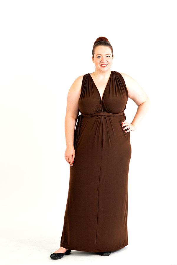 brown infinity wrap dress