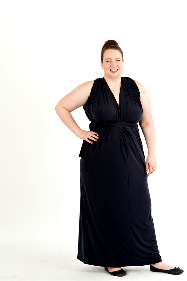 dark charcoal multi wrap dress