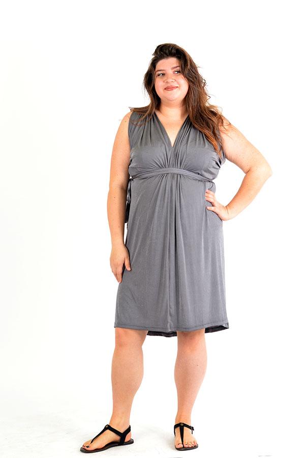 Shimmer Grey Wrap Dress