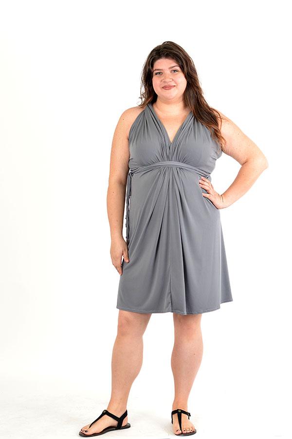 Grey multi-convertible wrap dress