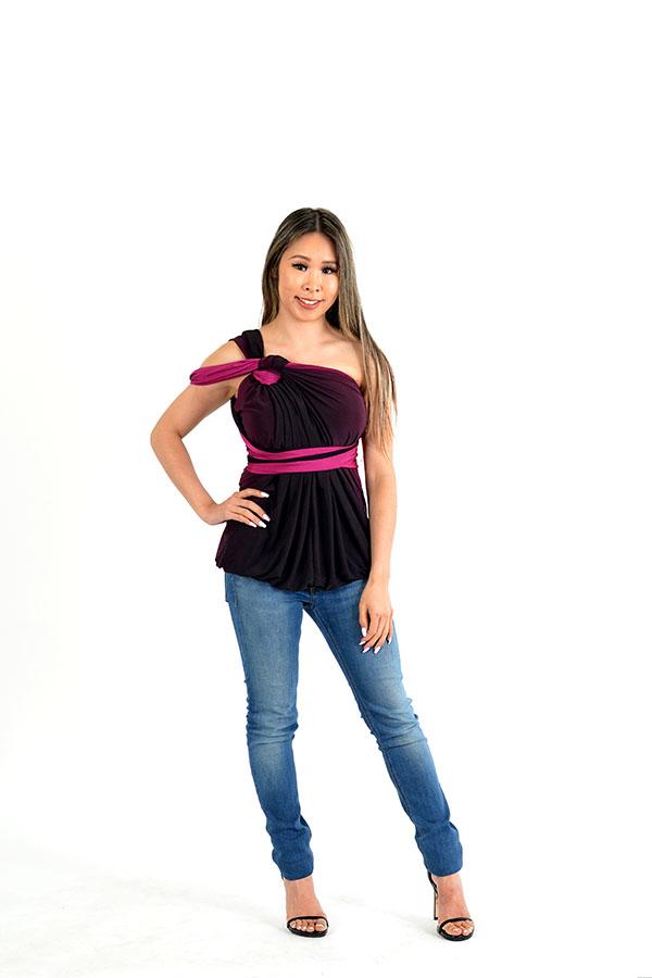 magenta ombre wrap dress