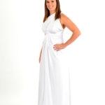 shimmer white wrap dress