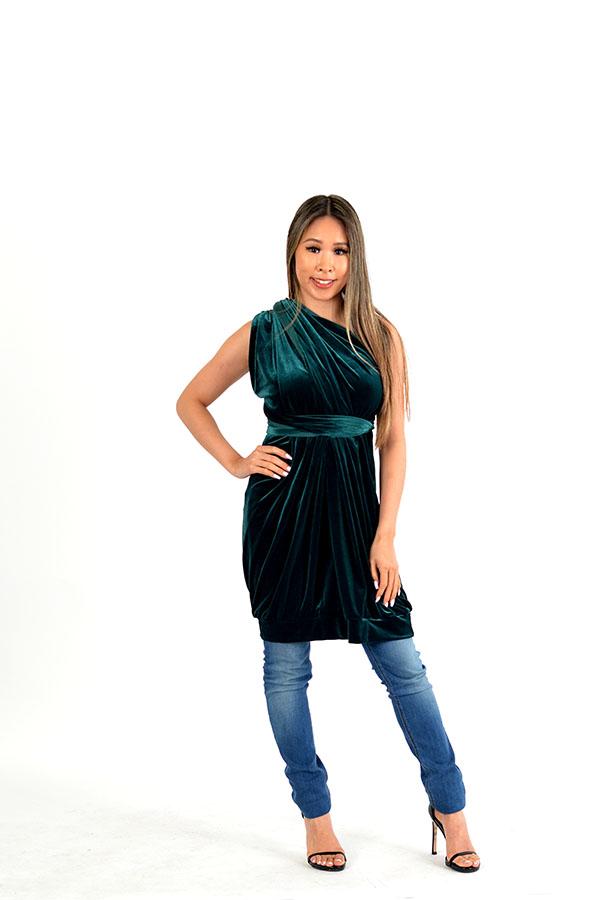 velvet green wrap dress
