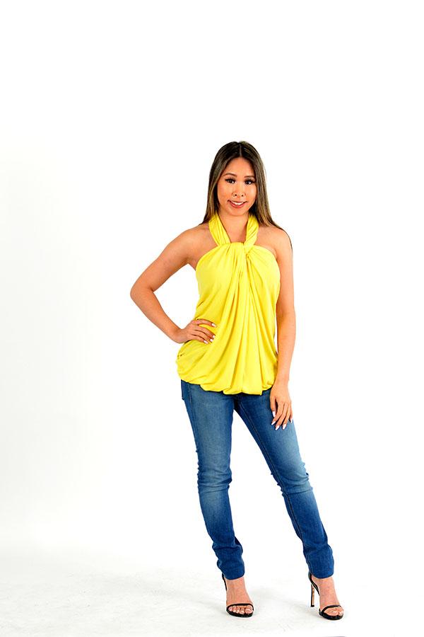Yellow infinity wrap dress