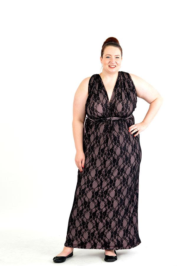 black lace infinity wrap dress