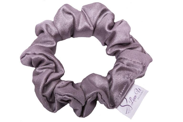 shimmer purple scrunchies
