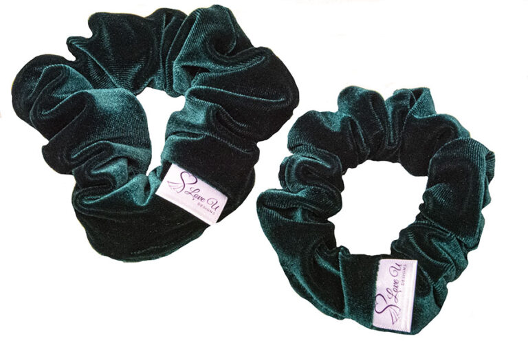 velvet green scrunchies