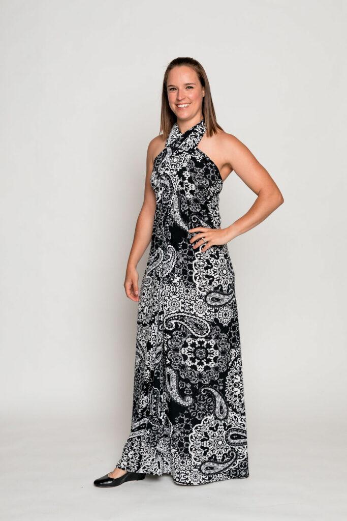 Regal floor length wrap dress