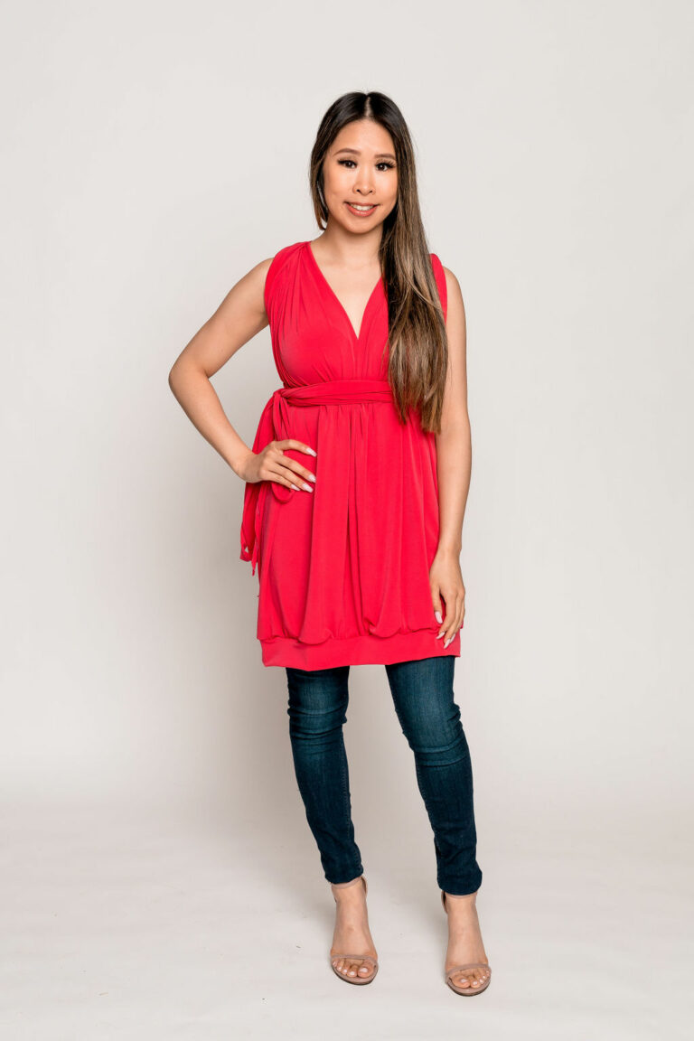 lipstick wrap dress
